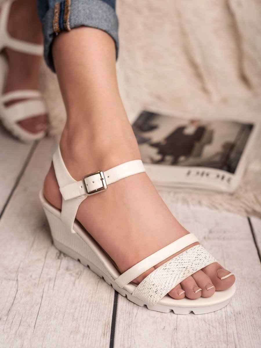 sandały na koturnie białe rozmiar36